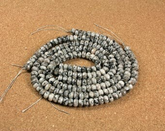 Norwegian Moonstone Faceted Rondelle Beads - Black and White Faceted Beads, 8mm, 16 inch strand