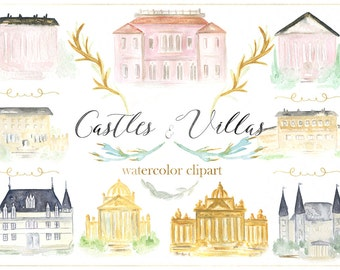 Castle and villas watercolor clip art, hand drawn. Building watercolor clipart. Wedding, fine art, luxury invitations, watercolor crest.