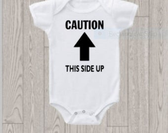 This Side Up onesie- funny package-like baby bodysuit