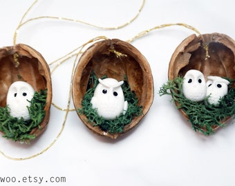 Owl woodland ornaments walnut shell ornaments Nature Gift Tags christmas ornament