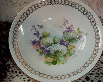 Vintage Dresden China Bowl Violets &  Floral Snowball Motif w Ornate Gold Accent Trims Shabby Chic Home Decor Collectible Bowl