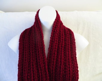Wine Red Scarf, Hand Knitted Red Scarf, Dark Red Chunky Knit 79 inches, Red Wool Blend