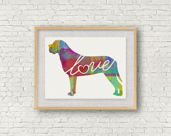 Mastiff Love - A Colorful Watercolor Print for Dog Lovers - Dog Breed Gift - Can Be Personalized With Name - Pet Memorial - Pet Loss Gift