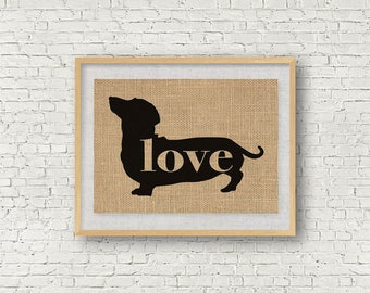 Dachshund / Wiener Dog Love - Burlap Wall Art Home Decor Print - Gift for Dog Lovers - Personalize Silhouette w/ Name - More Breeds (101p)
