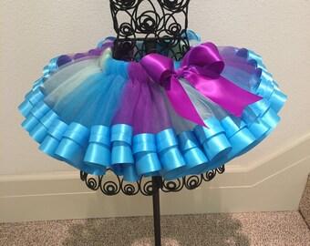 Multi Colors Ribbon Tutu, Sewn Ribbon Trimmed Tutu, Girl's Ribbon Tutu, Tutu Skirt, Tutu For Girl's Party/Birthday