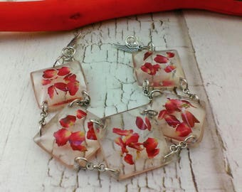 Real rose jewelry Eco resin bracelet Real flower jewelry Red bracelet Eco friendly Rose bracelet Real flower bracelet Charm bracelet