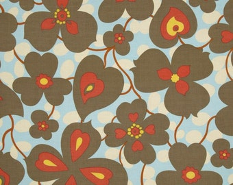 Half Yard - Lotus Morning Glory in Linen , Amy Butler, quilting cotton, Brown, Red, Blue, Yellow, Cream, Rowen Fabrics, Quilting Cotton