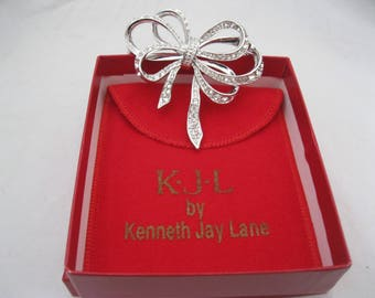Kenneth Jay Lane KJL Silver Rhinestone Bow Brooch