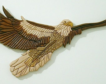 Eagle Wood Sculpture, Intarsia Wall Art