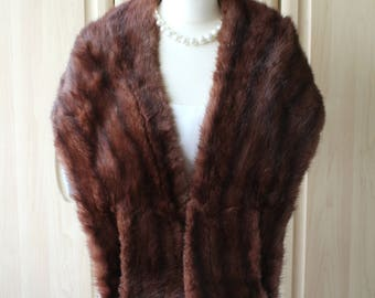 Vintage Real Brown Muskrat Musquatch Fur Shrug Stole Near Perfect Condition Wedding Occasion S8