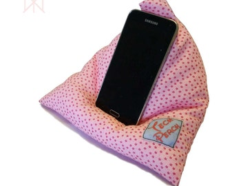 Mobile Phone Stand Smartphone Cushion Gift for Her Pink Flowers Fresh Country iPad Mini Tablet Stand Pillow Cell Phone Stand Bed Cushion