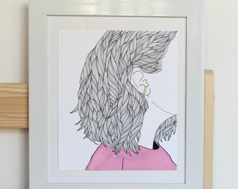 Girl in Pink Illustration (FRAME NOT INCLUDED)