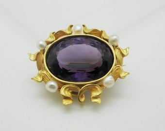 Vintage 14k Yellow Gold Amethyst and Seed Pearl Brooch Pin