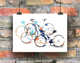 Cycling Print, Caffeine Stop, Print for Cyclists