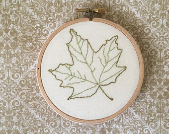 Green Maple Leaf embroidery