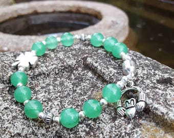 Claddagh Bracelet Green Aventurine Beads