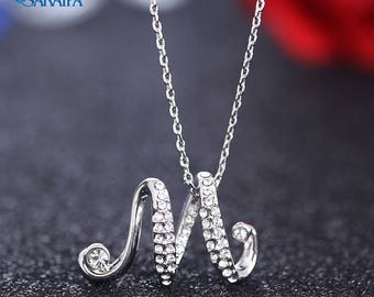 Letter Swarovski Element Necklace Wedding Necklace Gift Necklace Bridal Pendant Necklace Mother's Day Gift NA110179
