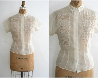 1950s | Vintage 50s Sheer Cream White Nylon Blouse with Lace Inserts | Size M