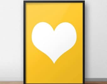 Mustard yellow and white love heart poster print for bedroom nursery playroom modern