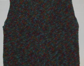 Vintage Hand Knit Sweater Vest Green Blue Brown Misses One Size M to L Open Front