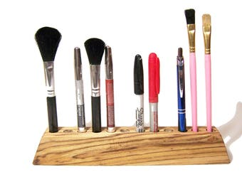 Wood Makeup Organizer, Wood Makeup Brush Holder, Brush Holder, Wood Pencil Holder,  Fountain Pen Holder, Free Shipping