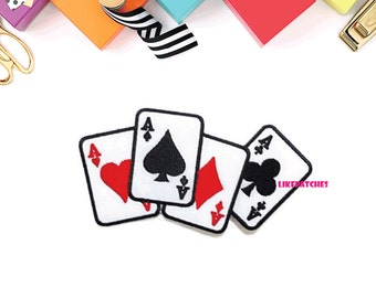 Club Card Game New Sew / Iron On Patch Embroidered Applique Size 12.5cm.x6.5cm.