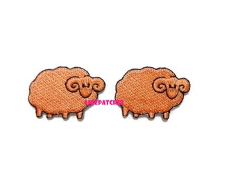 Set 2 pcs. Orange Sheep - Cute Patches New Sew / Iron On Patch Embroidered Applique Size 3.5cm.x2.4cm.