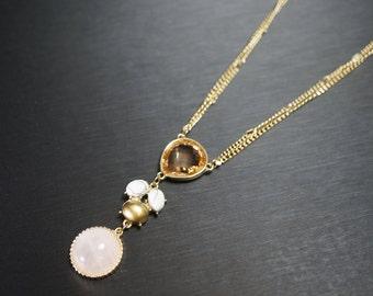 Rose Quartz Necklace, Gold Necklace, Long Chain Necklace