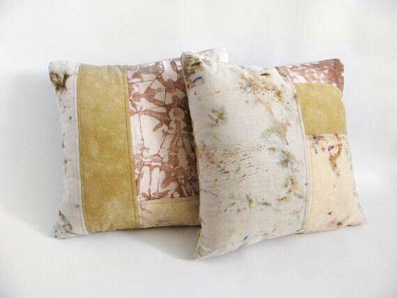 Pink & Tan Patchwork Pillow Set