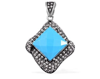 Blue Resin Square Cut, Austrian Crystal Stainless Steel Pendant Without Chain TGW 15.00 Cts.