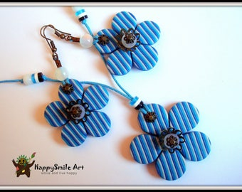 Polymer Clay Jewelry Handmade Earrings & Necklace Set Blue Stripe Flowers Handmade Dangle Earrings One Of A Kind Unique Gift For Her