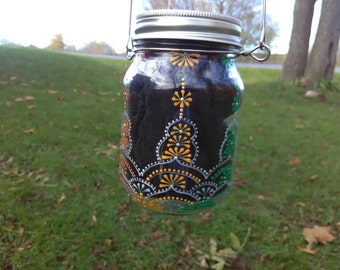 Wedding Mason Jars, Rustic Wedding Mason Jar, Hand Painted Mason Jar, Mason Jar Lantern, Mason Jar with Handle, Rustic wedding decor