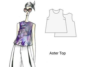 Aster Top, sizes 18-26, women's sewing pattern, PDF sewing pattern, sewing pattern, patterns, digital patterns, blouse sewing pattern, sew