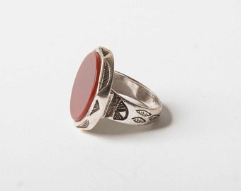 Silver and agate Tuareg ring US size 6 - SMALL size