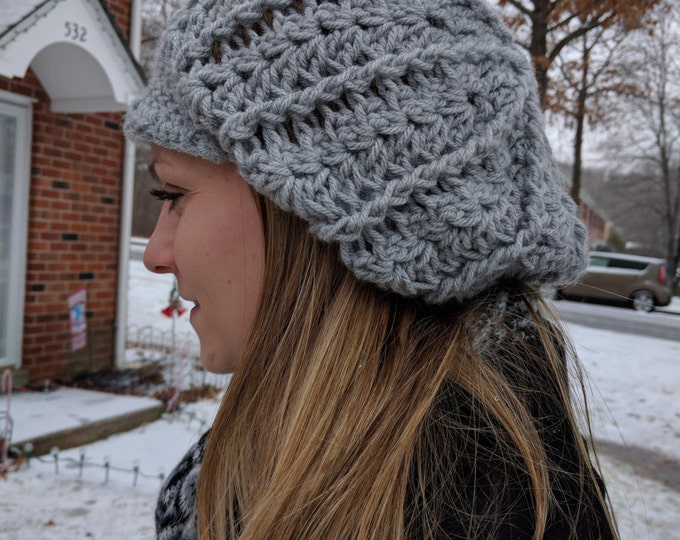 Slouchy Crochet Hat with Brim - Choose from more than 30 colors!