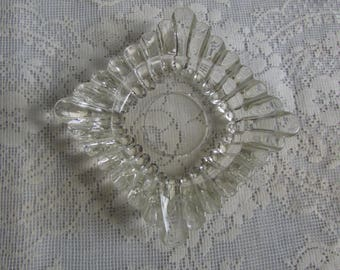 Old Clear Pressed Glass Ashtray Dresser Dish.
