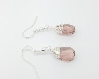 Pink quartz earrings wire wrapping pink quartz earrings sterling silver pin quartz wire wrapping earrings pink earrings