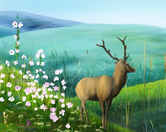 """Mountain Roe Deer Canvas Giclee, Acrylic Art W Gallery Wrap Ready To Hang Up To Size 42X22X2"""""""
