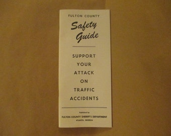 Vintage Fulton County Safety Guide, Fulton County Sheriff's Department, Atlanta Businesses, Driver's Guide, Boating Guide, Road Signs