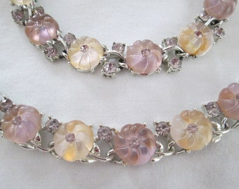 Lisner Fruit Salad Flower Rhinestone Necklace Set
