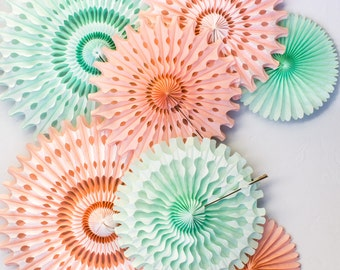 Peach & Mint Green Tissue Fan Set in Mix of Ombré and Solid. Ombre Wedding Decorations, Baby Shower Decorations, Party Decorations, Birthday