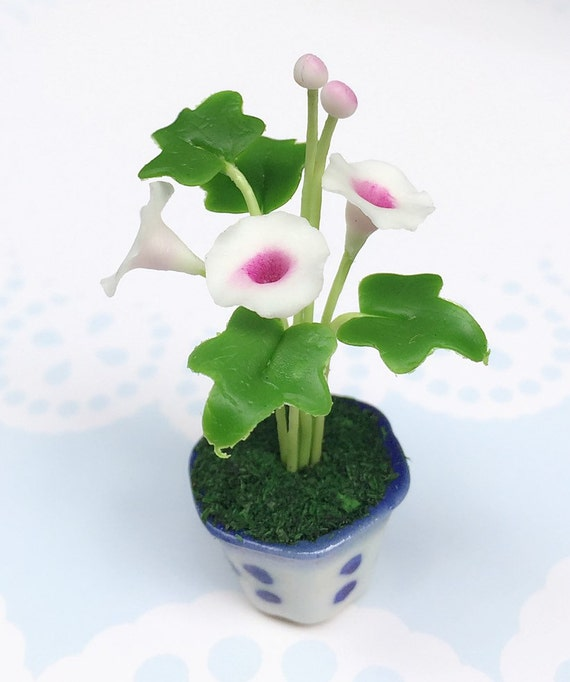 Miniature Flower,Miniature Flower Pot,Miniature Vase,Dollhouse Flower,Miniature Garden,Dollhouse Flower Pot,Miniature White Morning Glory