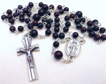 Men's Catholic Rosary made with brown mustang jasper beads