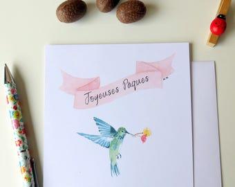 Carte Joyeuses Pâques - Pour Pâques - Joyeuses Pâques - Carte Oiseau bleu - Fleurs - Pour accompagner les chocolats - Pâques 2018 - Baptême