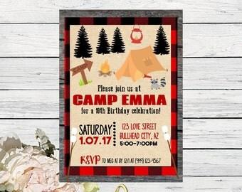 Camping Birthday invitation ***Digital File*** (Camping-Woodred)