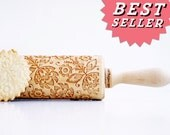 Rolling pin engraved : FOLK - embossing rolling pin, laser engraved rolling pin. Polish FLOWER folk art. Wedding gift  Birthday bestseller