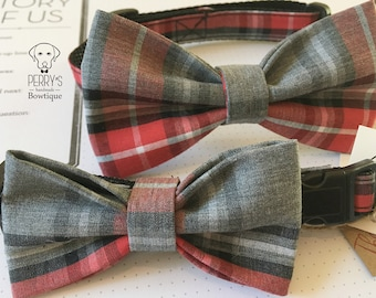 Red/Gray Bow Tie and Collar OR Bow Tie Only *OPTIONAL