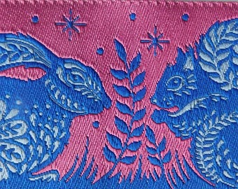 Woven Jacquard Ribbon | 1-1/2 Inch Animal grandstand pattern Jacquard Ribbon Trim | Tula Pink Trim~Pink~Royal~Light blue
