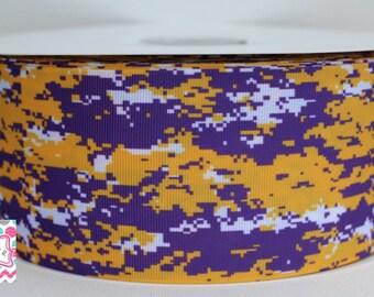 Digital Camo Cheer ribbon, Lsu colors 3 inch grosgrain ribbon - 5 yards!
