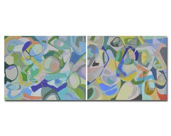 Diptych painting,Abstract Paintings,blue Painting,ocean, sea,beach,coastal,modern decor, wall art,canvas art,triptych,panel paintings,contem